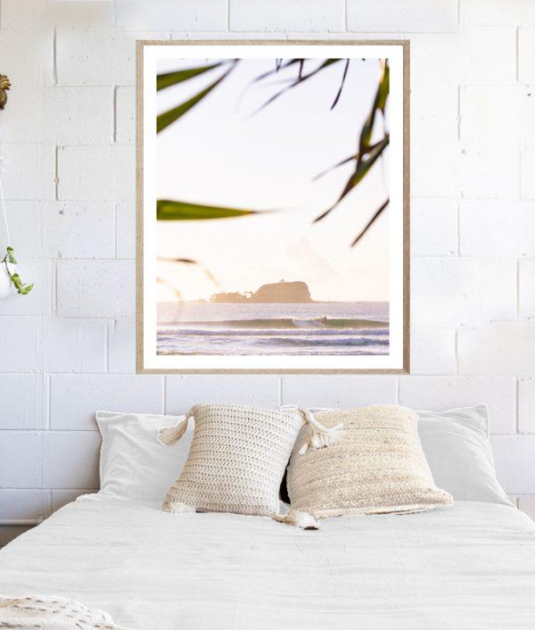 My Wave - framed Mudjimba surf art above bed
